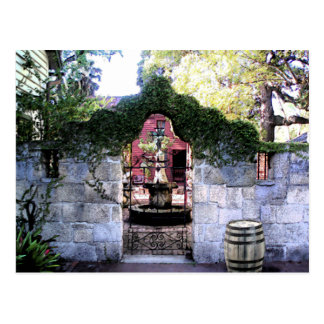 Coquina Wall coutyard in Old Saint Augustine Villa Postcard