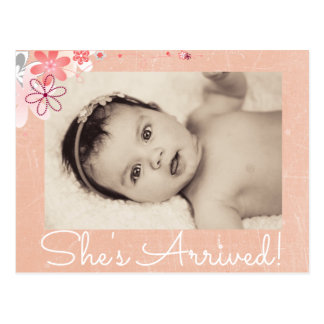 "Coraal Photo ""She's Arrived""  Birth Announcement Postcard"