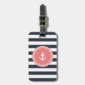 Corail personnalisé et marine de monogramme nautiq étiquette de bagage