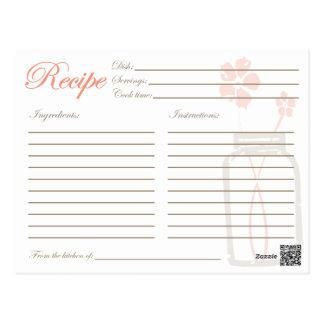 Corail rustique de carte de douche de recette de carte postale