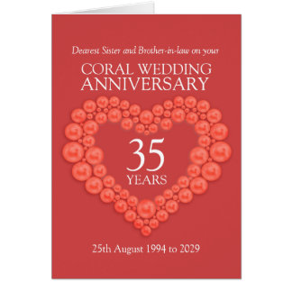 Coral 35th anniversary Sister brother-in-law card