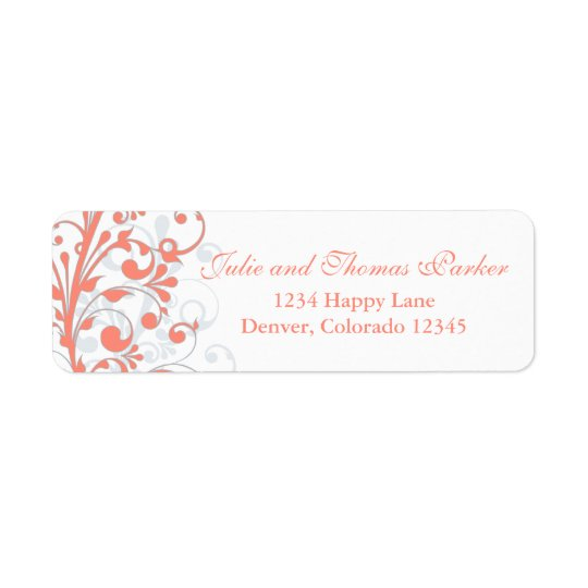 Coral Abstract Floral Wedding Return Address Label