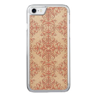 Coral and Antique White Floral Damask Style Art Carved iPhone 8/7 Case