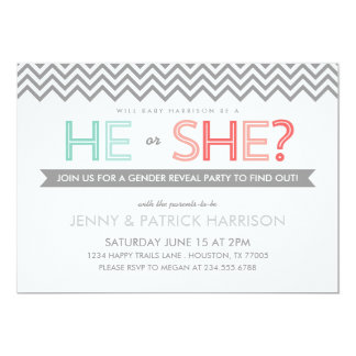 """Coral and Aqua Chevron Baby Gender Reveal Party 5"""" X 7"""" Invitation Card"""