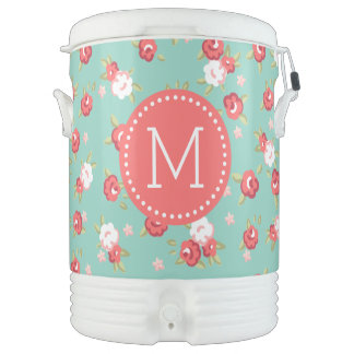 Coral and Aqua Chic Vintage Floral Print Monogram Drinks Cooler