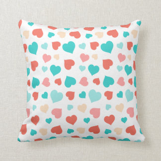 Coral And Aqua Hearts Pillow