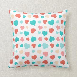 Coral And Aqua Hearts Pillow