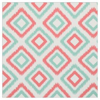 Coral and Aqua Modern Ikat pattern Fabric