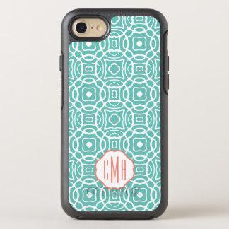 Coral and Aqua Quatrefoil Monogram OtterBox Symmetry iPhone 8/7 Case
