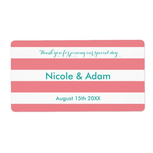 Coral and aqua striped wedding water bottle labels