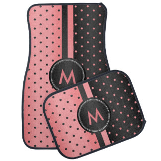 Coral and Black Polka Dots Car Mat