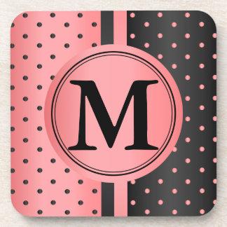 Coral and Black Polka Dots - Monogram Coaster
