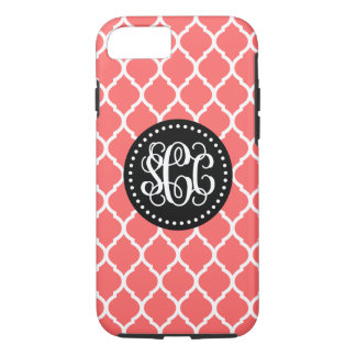 Coral and Black Quatrefoil Script Monogram iPhone 7 Case
