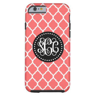 Coral and Black Quatrefoil Script Monogram Tough iPhone 6 Case