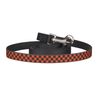 Coral and Black Wallace Clan Ancient Tartan Pet Lead