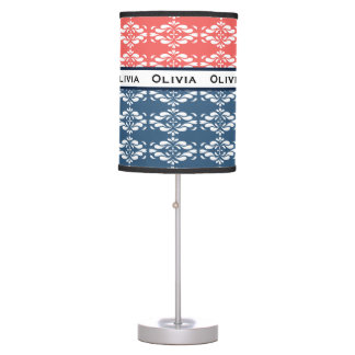 Coral and Blue Floral Name Table Lamp