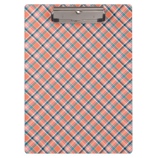 Coral and Blue Girly Plaid Clipboard