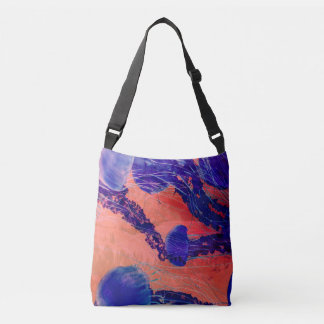 Coral And Blue Jellyfish Bag In Crossbody Or Tote