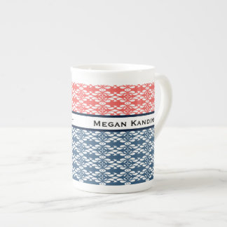Coral and Blue Pattern Tea Cup