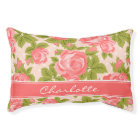 Coral and Blush Vintage Roses Monogram Pet Bed