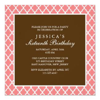 Coral and Brown Elegant Quatrefoil Birthday Card