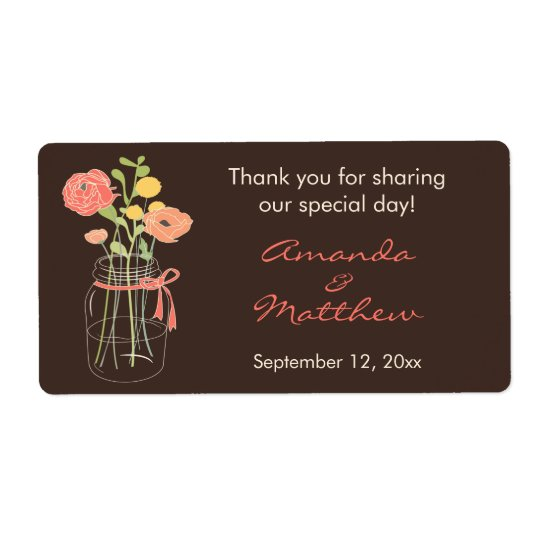 Coral and Brown Mason Jar Wedding Favour Labels