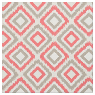 Coral and brown Modern Ikat pattern Fabric