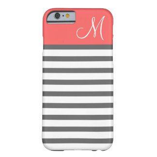 Coral and Charcoal Preppy Stripes Custom Monogram Barely There iPhone 6 Case