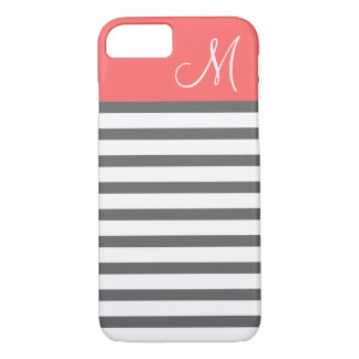 Coral and Charcoal Preppy Stripes Custom Monogram iPhone 7 Case