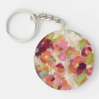 Coral and Emerald Garden Double-Sided Round Acrylic Keychain