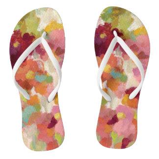 Coral and Emerald Garden Flip Flops