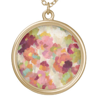 Coral and Emerald Garden Gold Plated Necklace