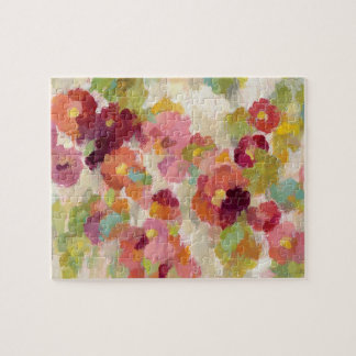 Coral and Emerald Garden Jigsaw Puzzle