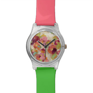 Coral and Emerald Garden Watch