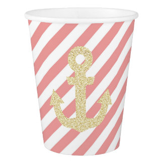 Coral and Gold Anchor Party Cups