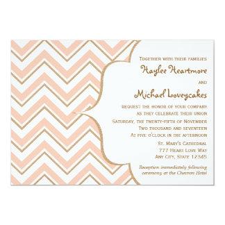Coral and Gold Chevron Wedding Invitations