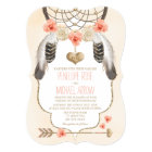 Coral and Gold Dreamcatcher Wedding Card