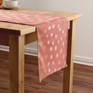 Coral and Gold Glitter City Dots Table Runner