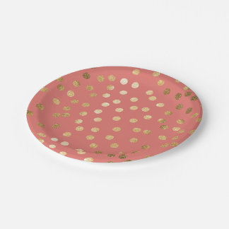 Coral and Gold Glitter Dots Paper Plate