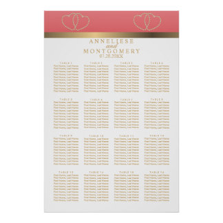 Coral and Gold Hearts -  16 Seating Chart