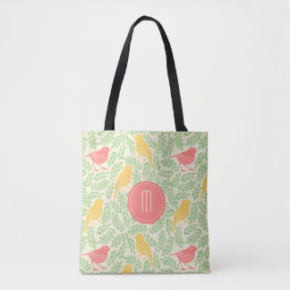 Coral and Gold Spring Birds Monogram Tote Bag