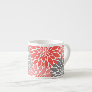 Coral and Gray Chrysanthemums Floral Pattern Espresso Cup