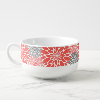 Coral and Gray Chrysanthemums Floral Pattern Soup Mug