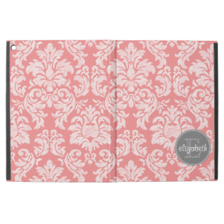 """Coral and Gray Damask Pattern with Custom Name iPad Pro 12.9"""" Case"""