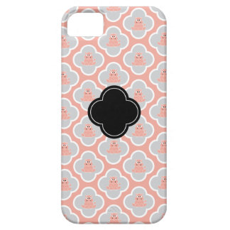 Coral and Gray Floral Hippo iPhone Case