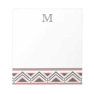 Coral and Gray Geometric Tribal Pattern Monogram Notepad