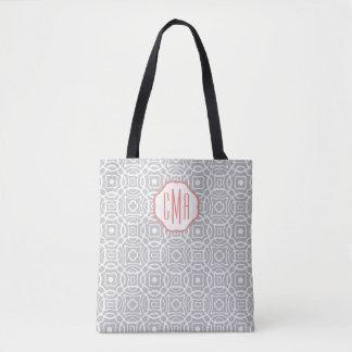 Coral and Gray Quatrefoil Custom Monogram Tote Bag