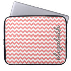 Coral and Grey Chevron Pattern with Big Name Laptop Sleeve