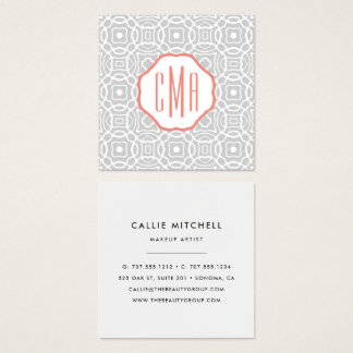 Coral and Grey Three Initial Monogram Square Business Card
