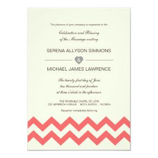 Coral and Ivory Chevron Wedding Invitations